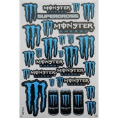 Planche Autocollant Stickers Monster Energy Bleu + De 20 Pieces