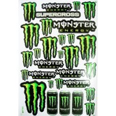 Planche Autocollant Stickers Monster Energy Vert + De 20 Pieces