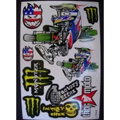 Planche Autocollante Stickers Monster Energy Pilote Moto