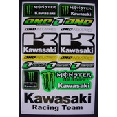 Planche Autocollant Stickers Kawasaki One Industries Monster Energy Couleur Vert 17 Pieces