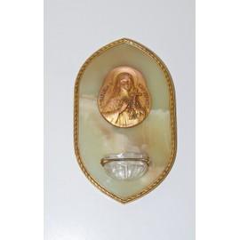 Bénitier ANCIEN en marbre Sainte Thérèse de l'Enfant Jésus