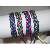 Bracelet Mode Tresse De Cordon Satin� Multicolore & Fluo Fun Et Lacet Cir� / Fermeture Ajustable Shamballa.