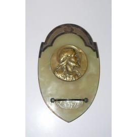 Bénitier ANCIEN marbre médaille CHRIST signée O.Ruffony