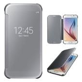 Etui Coque Housse Etui � Rabat Miroir Samsung Galaxy S6 Argent� Silver Bumper