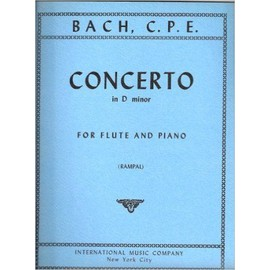 CONCERTO in D minor for Flute and Piano [Partition] by BACH, C.P.E.