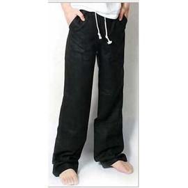 Homme Pantalon Long Mati�re De Lin Style Ample L�ger Couleur Unie