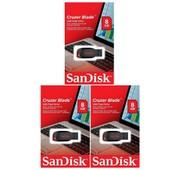 3 x SanDisk Cruzer Blade cl� USB 8 Go (paquet de trois)