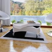 Vidaxl Table Basse Pivotante En Mdf Blanche Brillante Laqu�e