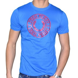 Fred Perry - T-Shirt Manches Courtes - Homme - Round Logo Print M2210 - Bleu Atlantic