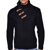 Geographical Norway - Pull Col Fourrure 3 Sangles - Homme - Florianapolis - Noir