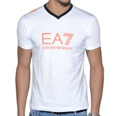 Ea7 - Tee Shirt Manches Courtes - Homme - Train Graph V - 273814 - Blanc Orange
