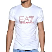 Ea7 - Tee Shirt Manches Courtes - Col Rond - Homme - Ea7 Train 01 - Blanc Rouge