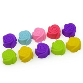 10x Moule G�teau P�tisserie Silicone Fleurs Rose Diy Muffin Cupcake D�coration