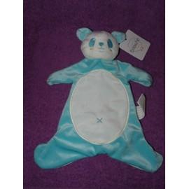 Doudou Plat Ours Ourson Panda La Halle Brioche Bleu Blanc Turquoisep Lush Comforter Soft Toy Peluche