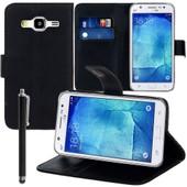 Samsung Galaxy J5 Sm-J500f: Etui Portefeuille Livre Housse Coque Pochette Support Vid�o Cuir Pu + Stylet - Noir