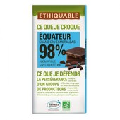 Ethiquable - Chocolat Noir Grand Cru Esmeraldas 98% Bio & �quitable 100 G - Ar�matique Sans Amertume
