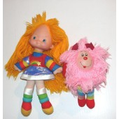 Blondine Et Sprite Dans Rainbow Brite Peluche Ou Poup�e De Chiffon Blondine Et Sprite Rose Mattel 1983 Vintage