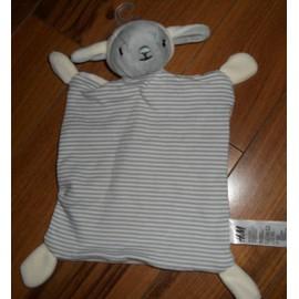 Doudou Agneau Mouton Gris Blanc Ray� H & M Peluche Naissance B�b� Hetm Plat Jouet �veil Enfant Mixte