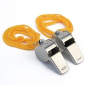 2x Sifflets En M�tal Sports Arbitre Police Militaire Camping Chasse Whistle