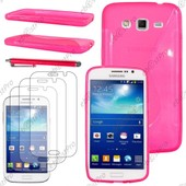Ebeststar � Housse Etui Coque Silicone Gel Motif S-Line Protection Souple Pour Samsung Galaxy Grand 2 G7105 G7102 G7100, Couleur Rose + Stylet 3 Film
