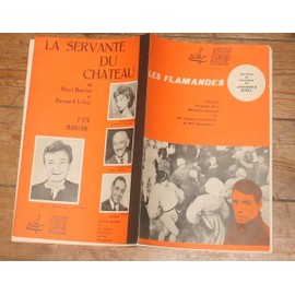rare double partition JACQUES BREL les flamandes / RICET BARRIER LUCETTE RAILLAT la servante du chateau