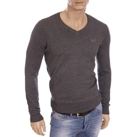 Kaporal - Pull Fin Tavel Gris Anthracite Col V Homme Hiver 2016