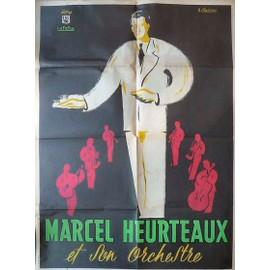affiche Marcel Heurteaux et son orchestre ( format 60 X 80 cm ) disques lutetia, signée H Chabrier, imprimerie Deligne Paris