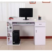 Bureau Pour Ordinateur Table Meuble Pc Informatique Multimedia Blanc 12