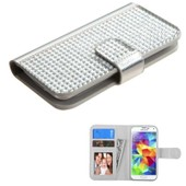 Coque Housse �tui Portefeuille Silver Porte-Carte En Strass Pour Iphone 5/5c/5s/6/6s, Htc One M7/S/Xl, Samsung Galaxy Core Prime Prevail Lte/S2 Gt-I9100/S3 Mini Gt-I8190/S4 Mini Gt-I9190/S5 Mini
