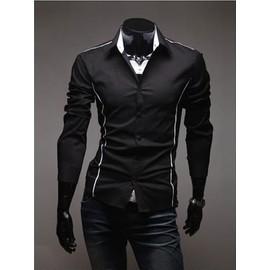 Chemise Homme Cintr�e Manches Longues Fashion Mode Slim Col Am�ricain D�contract�e Look Branch� Classe Et Tendance