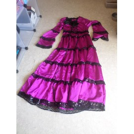 Robe gothique victorienne lolita rose foncee taille L XL, occasion