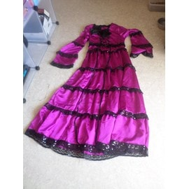 Robe gothique victorienne lolita rose foncee taille L XL