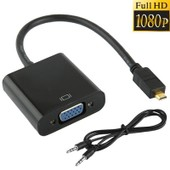 Full HD 1080P Micro HDMI Male to VGA Female Video Adaptateur Cable with Audio Cable, Length: 22cm (Black)