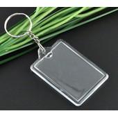 Porte-Clefs Cadre Rectangle / Porte Photo En Acrylique Transparent & Son Anneau En M�tal Argent�/ Cadeau Souvenir.