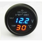 Qumox Voltm�tre Allume-Cigare Thermom�tre Chargeur Usb Led Auto 12-24v