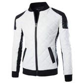 Blouson En Pu Cuir Homme Moto Manteau Hiver Jacket Mode Casual Veste Blanc/Noir