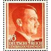 Pologne, Occupation Allemande 1941, G�n�ral Gouvernement, Portrait Chancelier Hitler, Yv. 87 - 16gr. Rouge Brun, Neuf** Luxe