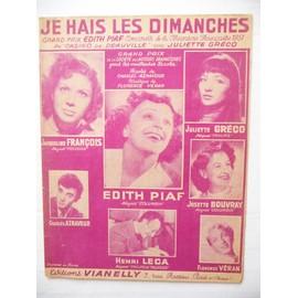 JE HAIS LES DIMANCHES Edith Piaf, Juliette Gréco, Aznavour, Jacqueline François