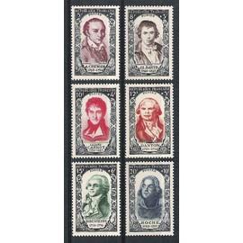 france, 1950, célébrités & personnages célèbres du 18ème siècle, la série n°867 à 872, neufs.