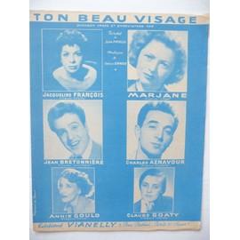 TON BEAU VISAGE Aznavour, Jacqueline François, Marjane, Bretonnière