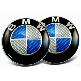 Lot de 2 logo badge emblème BMW 82mm capot / 74 mm coffre effet carbone Bleu Blanc