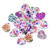 Bouton Coeur En Bois Motif Floral Multicolore 2 Trous Pour Couture, Scrapbooking, Customisation, Cr�ation De Bijoux, Collection...22x25mm