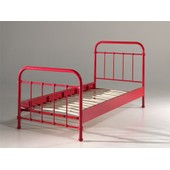 Lit Swithome New York 90x200 M�tal Rouge