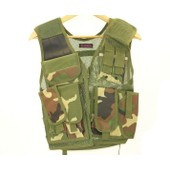 Gilet Veste Tactique Recon Woodland Multi Poches Avec Holster Dmoniac 911306 Airsoft