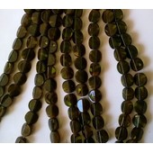 Lot De 10 Perles Petits Palets Marron Marbr� En Verre - 12 Mm