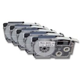 5 Cassettes � Ruban Vhbw 9mm Pour Casio Cw-L300, Kl-100e, Kl-120, Kl-1500, Kl-200e, Kl-300, Kl-60. Remplace: Casio Xr-9we1, Xr-9we.