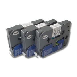 3x Cassette � Ruban Vhbw 12mm Pour Brother P-Touch 2710, 2730, 2730vp, 300, 300b, 300sp, 310, 310b, 320, 330 . Remplace: Tz-231, Tze-231.