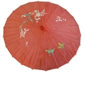 Ombrelle Chinoise En Tissu D�cor� D'un Diam�tre D'environ 82cm Pour 53cm De Longueur De Couleur