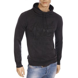 Kaporal - Pull Fabio Gris Anthracite Col Montant Homme Hiver 2016