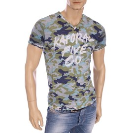 Kaporal Premium - T-Shirt Homme Fray Camouflage Col V Hiver 2016